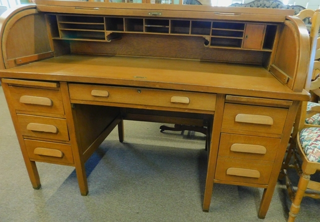 "#2~OAK 60"" C-CURVE ROLL TOP DESK"