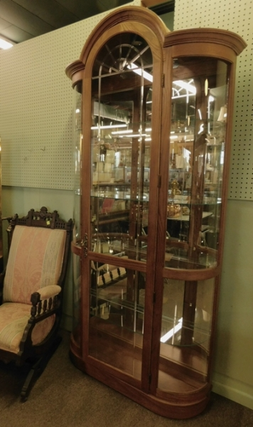 OAK CUREVED GLASS CHINA CABINET (1 OF 2),  85tX43w