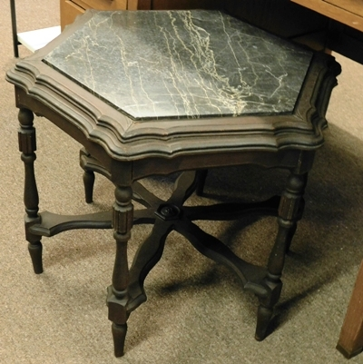 "HEXAGON 20""TALL TABLE, BLACK MARBLE INSET, C. 1930'S"