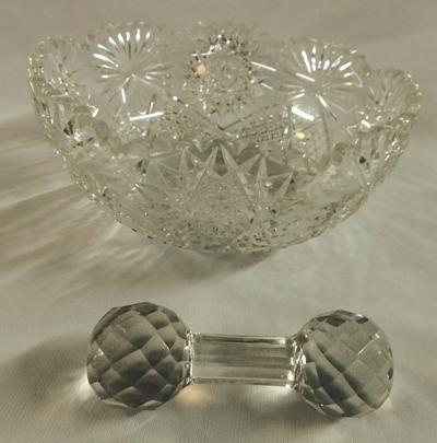 "CUT GLASS 9-1/4"" BOWL, STAR & SUNBURST + CUT GLASS KNIFE REST"