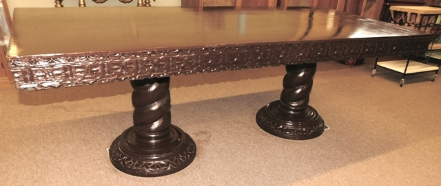 "DOUBLE PEDESTAL DINING TABLE W/2 LARGE TWIST PEDESTALS, CARVED SKIRT; APPX 37-1/2""X84"""