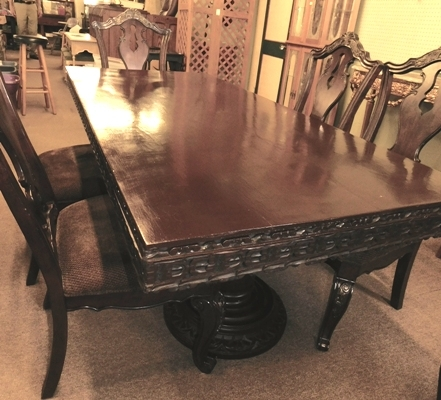 "#2~DOUBLE PEDESTAL DINING TABLE W/2 LARGE TWIST PEDESTALS, CARVED SKIRT; APPX 37-1/2""X84"""