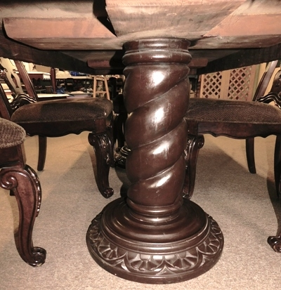 "#3~DOUBLE PEDESTAL DINING TABLE W/2 LARGE TWIST PEDESTALS, CARVED SKIRT; APPX 37-1/2""X84"""