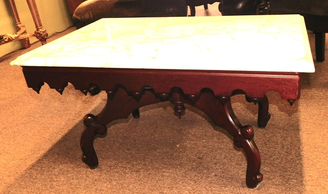 MAHOGANY RECTANGULAR COFFEE TABLE, WHITE MARBLE TOP
