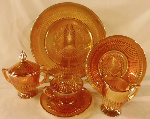 ANNIVERSARY (IRRIDENCENT-CARNIVAL) DEPRESSION GLASS DINNERWARE