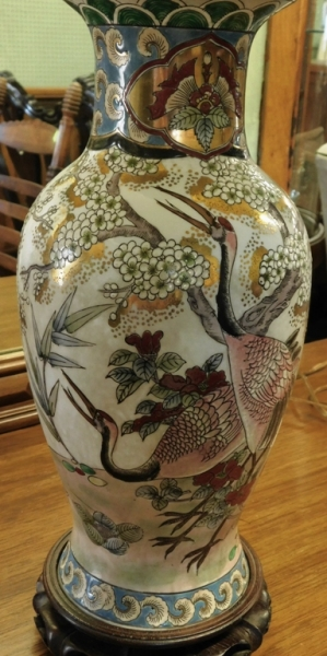 """#2~ PAIR 14""""T ORIENTAL VASES CONVERTED INTO LAMPS"""