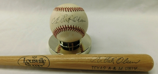 PAT OLSEN SIGNED BASEBALL & 2 MINI BATS