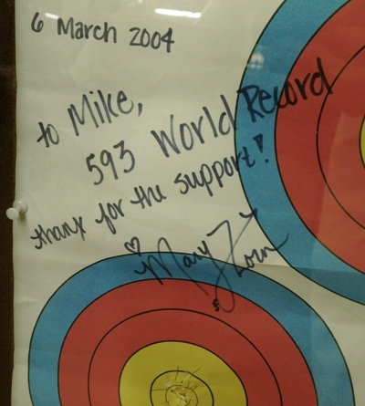 #2~ ARCHERY TARGETS BY MARY ZORN REPRESENTING THE 593 WORLD RECORD  GIVEN TO MIKE McKENZIE