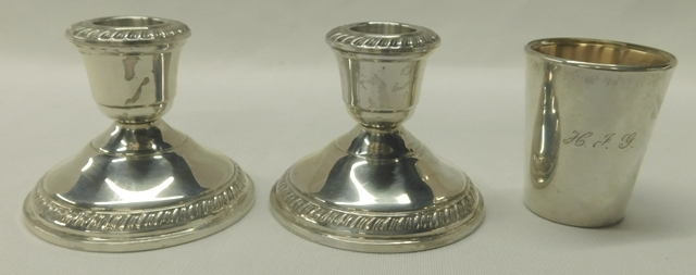 "PAIR 2-1/4"" CROWN STERLING CANDLESTICKS + 2-1/4Z' REED & BARTON SHOW GLASS W/GLASS LINER + REED & BARTON STERLING SHOT GLASS W/GLASS LINER"