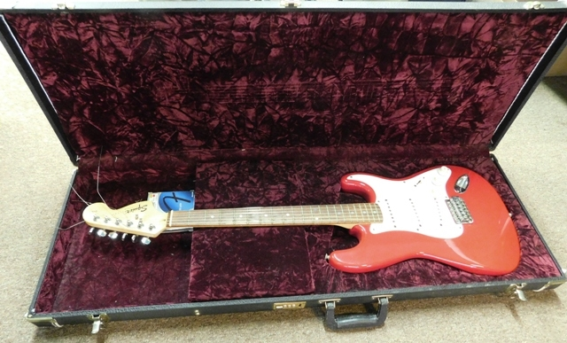 #3 ~ SQUIER STRAT BY FENDER ELECTRIC GUITAR, S/N CY0121126, VELVET LINED HARD CASE BY IBANEZ
