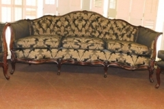 1930-40's FRENCH STYLE SOFA, MATCHING CHAIR + TALL BACK SIMILAR CHAIR