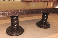 """DOUBLE PEDESTAL DINING TABLE W/2 LARGE TWIST PEDESTALS, CARVED SKIRT; APPX 37-1/2""""X84"""""""