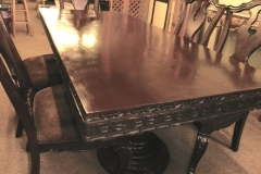 """#2~DOUBLE PEDESTAL DINING TABLE W/2 LARGE TWIST PEDESTALS, CARVED SKIRT; APPX 37-1/2""""X84"""""""