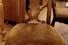#2~SET 6 DINING CHAIRS (2-ARMS, 4-SIDES), PIERCED BACK REST SLATS, UPHOL. SEATS