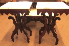 PAIR MAHOGANY SIDE TABLES W/VICTORIAN  REVIVAL SKIRTS, WHITE MARBLE TOPS (Match Coffee Table)