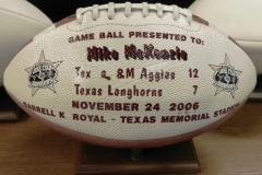 #2~FOOT BALL PRESENTED TO MIKE McKENZIE AFTER THE A&M-12 to TEX-7 GAME