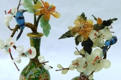 TWO SMALL JADE TREE ARRANGEMENTS IN SMALL CLOISONNE VASES