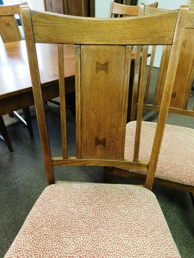 #2~OAK MISSION STYLE DINING TABLE & 6 CHAIRS