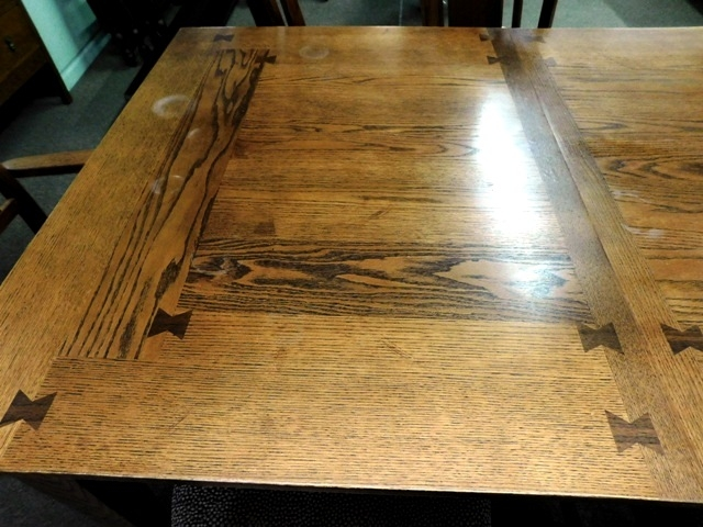 #3~OAK MISSION STYLE DINING TABLE & 6 CHAIRS