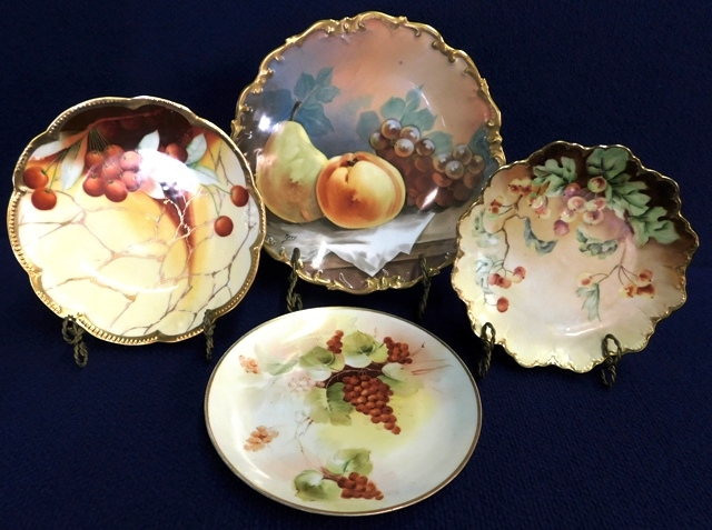 HANDPAINTED PICARD & MISC. TRANSFERWARE VINTAGE CHINA PLATES
