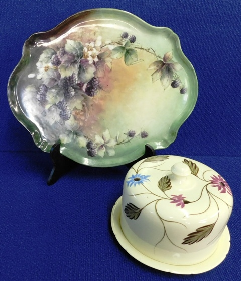 HANDPAINTED OVAL CHINA TRAY + CHEESE KEEPER