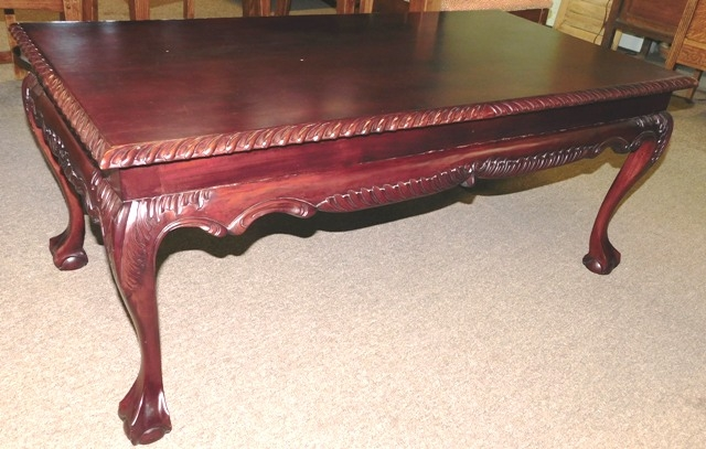MAHOGANY CLAW FOOT COFFEE TABLE