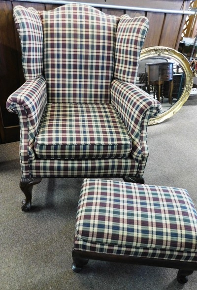 WING-BACK ARM CHAIR & OTTOMAN, CLAW FEET