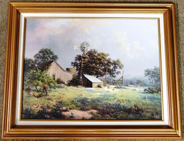 WINDBERG Framed Country Scene with Bluebonnets