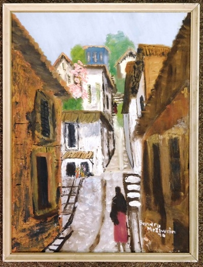 LATIN RESIDENTIAL STREET SCENE Oil on Board by Sandra McIlwain, 1970