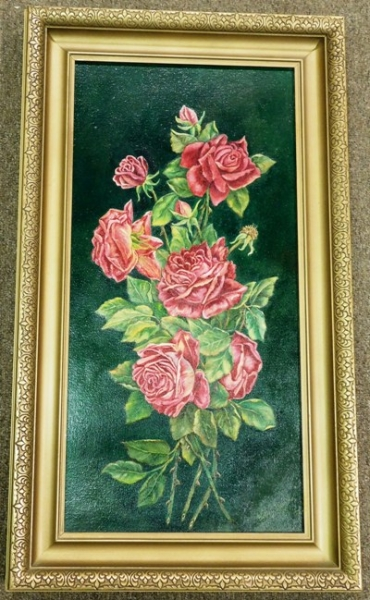 GILT FRAMED OIL ON CANVAS (RED ROSES) SIGNED TALLEY DEVINE, 1953