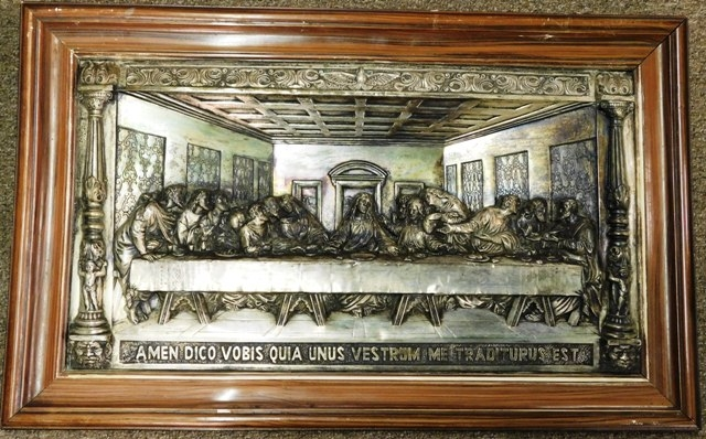 "FRAMED ""LAST SUPPER"" IN RELIEF"