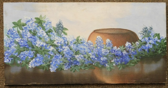 UNFRAMED BLUEBONNETS OIL ON CANVAS, UNSIGNED