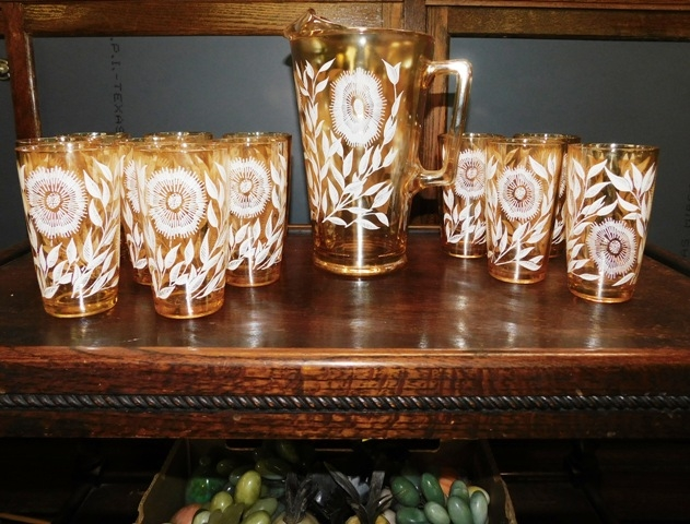JEANETTE GLASS CO-COSMOS, 1940'S Carnival Glass Pitcher & 12 Tumblers