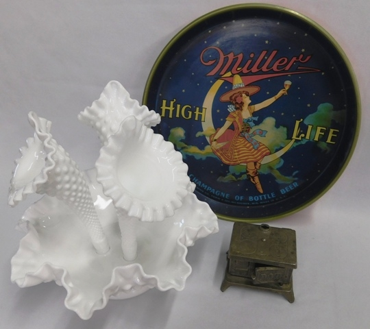 MILLER BEER MAID IN THE MOON TRAY + FENTON 3-HORN EPERGE + TOY STOVE