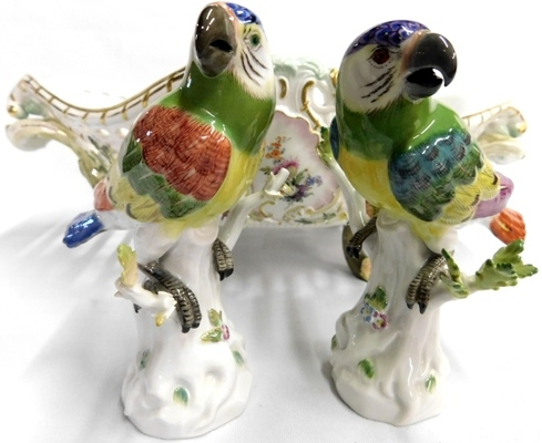 2 MINTON PARAKEET FIGURINES (not perfect)