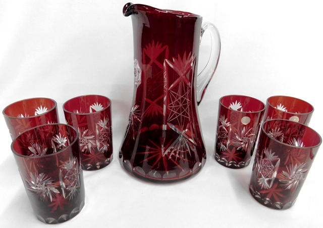 ROMANIAN RED CUT-TO-CLEAR PITCHER & 6 TUMBLERS