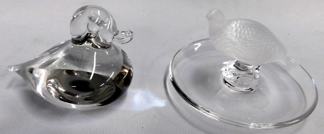 WEDGEWOOD DUCK + LALIQUE GAME BIRD RING DISH