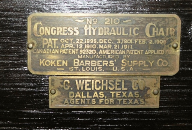 View 5~1911 CONGRESS HYDRAULIC CHAIR BY KOOKEN BARBER SUPPLY CO NO. 210
