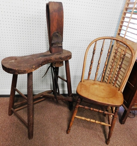 ANTIQUE HARNESS VISE + 1920's BOW-BACK SIDE CHAIR