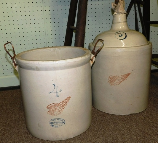 RED WING 5 GAL CROCK JUG + 4 GAL HANDLED CROCK