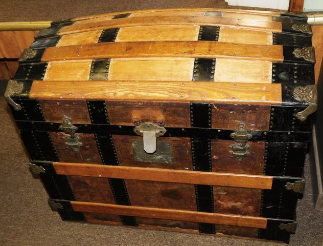 LATE 1800's WOODEN DOME TOP TRUNK