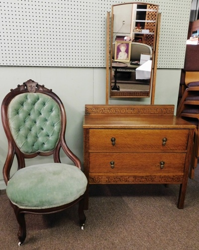 1800's WALNUT PARLOR CHAIR + ENGLISH OAK DRESSER