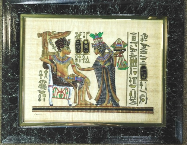 PAPYRUS PAINTING-QUEEN ANKHS GIVING KING TUT LOTUS FLOWERS