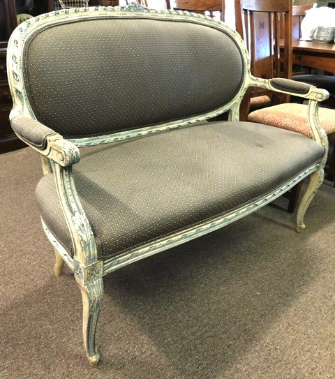 PERIOD LOVESEAT, PAINTED FRAME, NICE UPHOLSTERY
