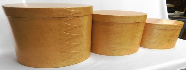 NEST OF 3 BIRDSEYE MAPLE SHAKER HAND MADE OVAL BOXES