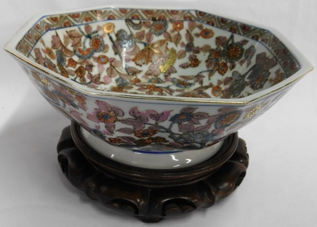 ORIENTAL POLYGON BOWL & STAND TO BE SOLD WITH STONE FRUIT (Seperate Picture)