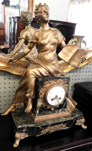 LOUIS XVI FRENCH 1800's FIGURAL MARBLE MANTEL CLOCK