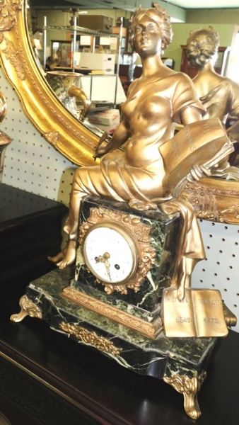 vIEW 2~LOUIS XVI FRENCH 1800's FIGURAL MARBLE MANTEL CLOCK