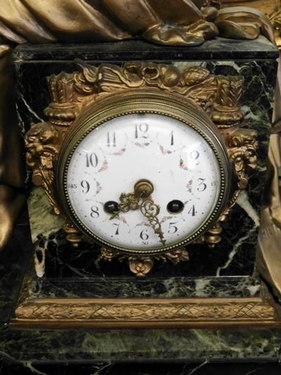 vIEW 3~LOUIS XVI FRENCH 1800's FIGURAL MARBLE MANTEL CLOCK