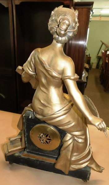 vIEW 4~LOUIS XVI FRENCH 1800's FIGURAL MARBLE MANTEL CLOCK